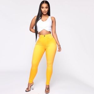 Yellow High Waisted Skinny Jeans